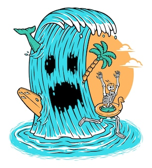 Wave monster attack the skull on the beach illustration