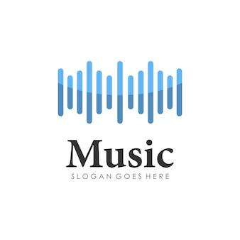Дизайн логотипа с волновой музыкой