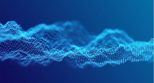 青い粒子の波抽象的な技術の流れの背景未来のベクトル図