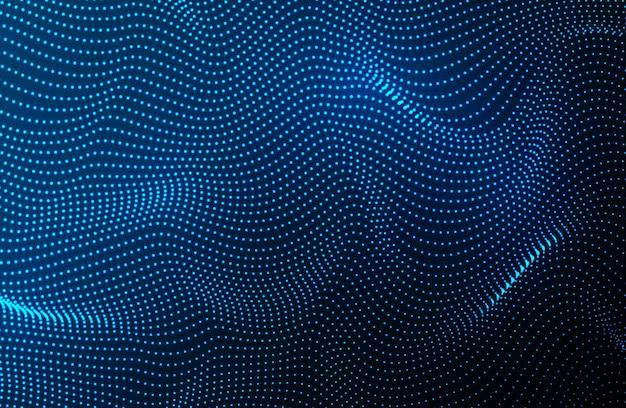 粒子の波。ダイナミックな波と未来的な青い点の背景。ビッグデータ。