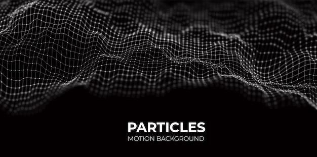 白い粒子の波抽象的な技術の流れの背景未来のベクトル図