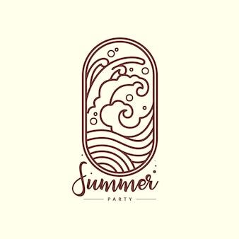 素晴らしい夏のロゴの波のアウトラインイラスト