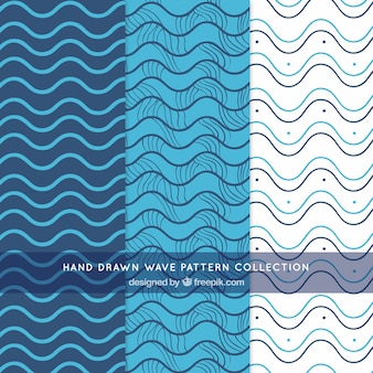 Wave patterns with hand-drawn lines