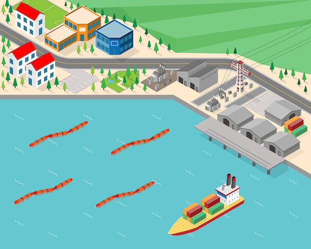 Wave power plant, wave energy in isometric graphic