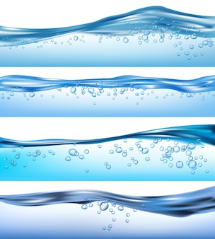 Wave realistic. nature ocean water splashes liquid flowing bubbles drinks waves set. sea aqua, water transparent surface, wave clear illustration