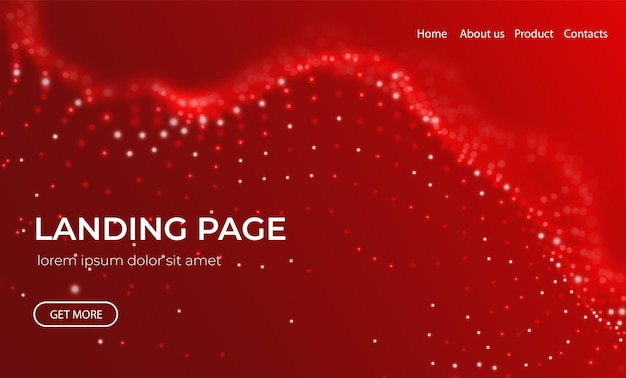 Wave of red particles abstract landing page technology background future vector illustration