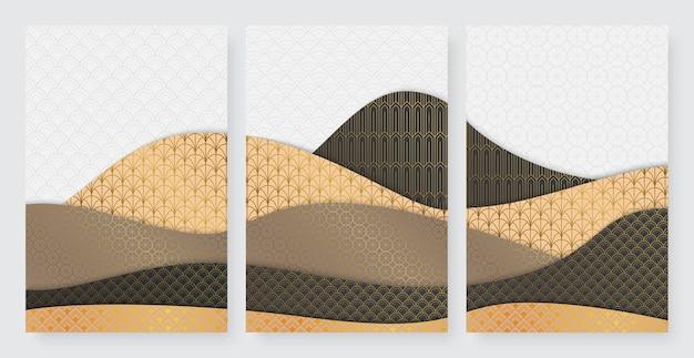 波の波紋テクスチャ流体幾何学的な金の流れる形状は、曲線の黄金の豪華な形状を設定します