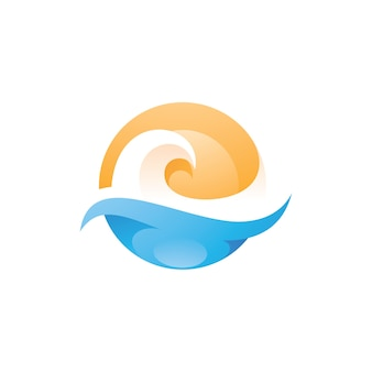 Wave sea beach and sun logo