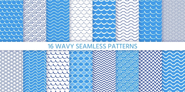 Wave seamless pattern. . blue wavy background. set textures with stripes, tides and rollers. sea geometric prints. marine, nautical design. simple modern illustration.