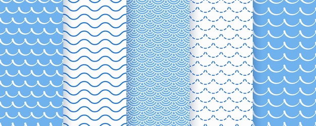 Wave seamless pattern.  blue wavy textures. sea geometric prints.