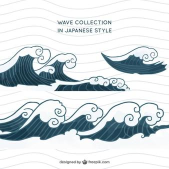 日本のスタイルに設定されたウェーブ
