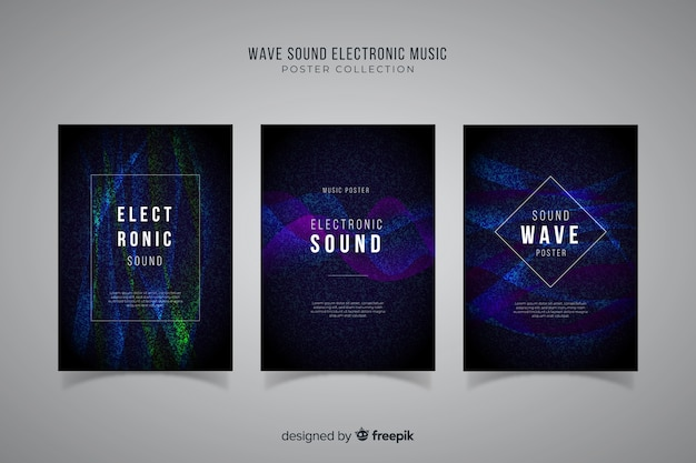 Wave sound electronic music poster collection