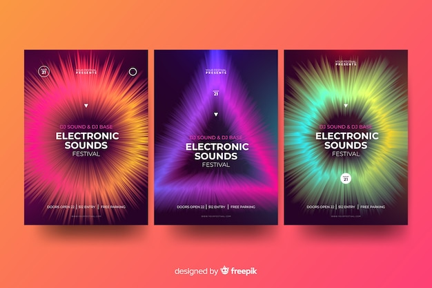 Wave sound electronic music poster