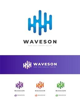 Wave sound music logo