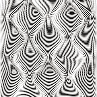 Wave striped textured monochrome background in 3d abstract style.
