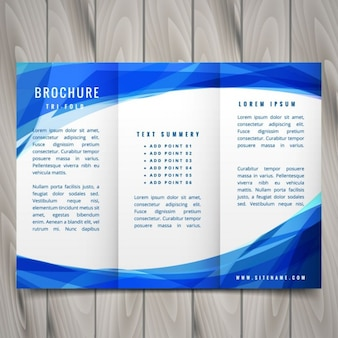 Stile onda opuscolo blu trifold