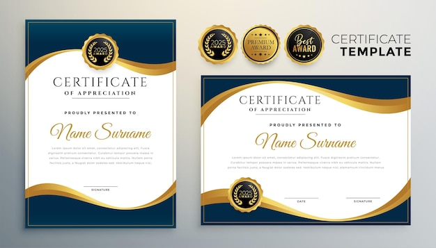 Wave style diploma certificate multipurpose template in premium golden style