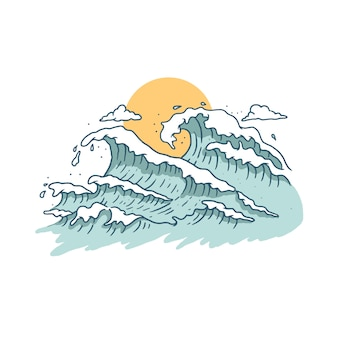 Wave and sunset