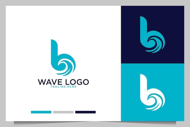 Волновой серфинг с дизайном логотипа буква b