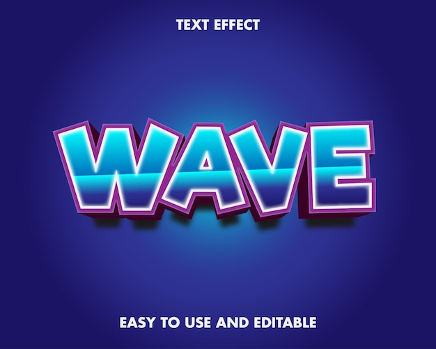 波のテキスト効果。編集可能なフォント効果。
