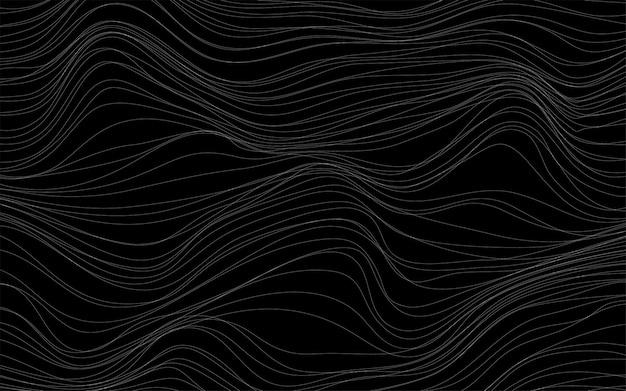 波のテクスチャ黒の背景ベクトル