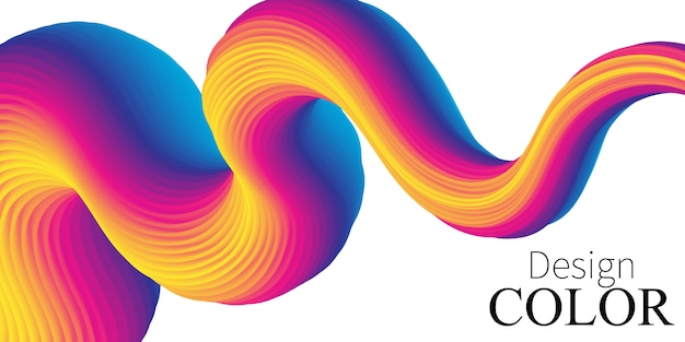 波。鮮やかな背景。流体の色。フロー形状