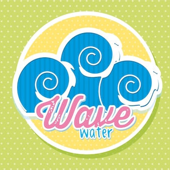 Wave water cartoon symbol over green background vector