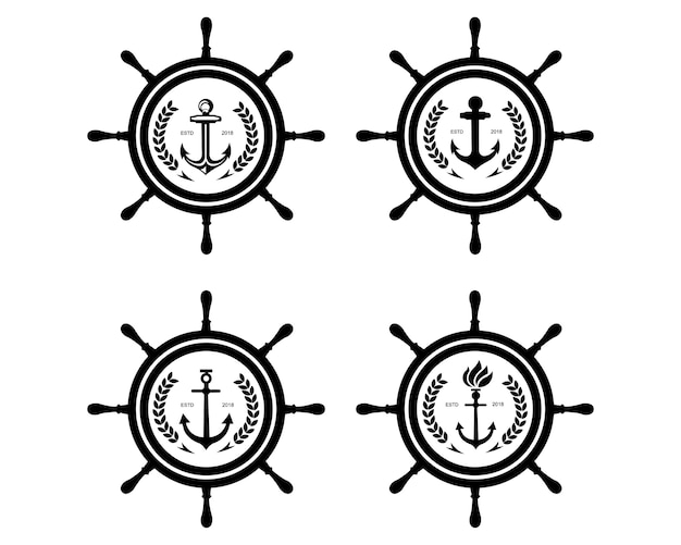 Корабль и лодочный шлем рулевое колесо с якорем над символом логотипа wave water ocean symbol