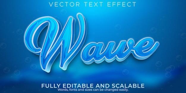 Текстовый эффект волны воды, редактируемый синий и жидкий текстовый стиль