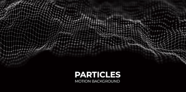 Wave of white particles abstract technology flow background future vector illustration