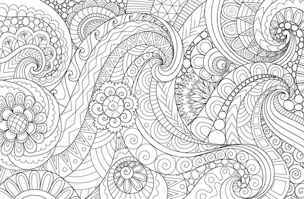 Waveabstract line art wavy flow for background, adult coloring book, coloring page illustration