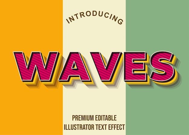 Волны - 3d красный сильный жирный иллюстратор текстовый эффект
