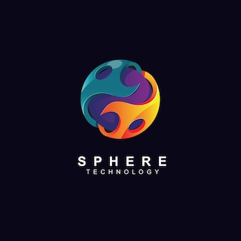 Waves and 3d sphere logo design