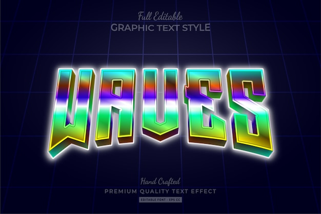 Waves 80's gradient editable text effect
