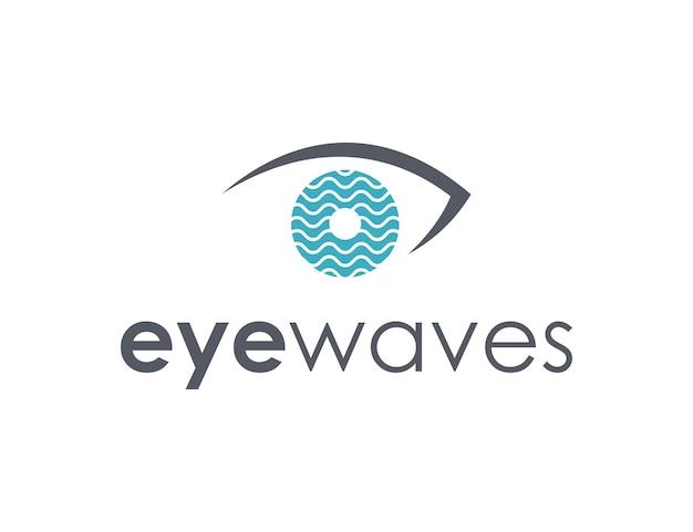 波と目のシンプルで洗練された創造的な幾何学的なモダンなロゴデザイン