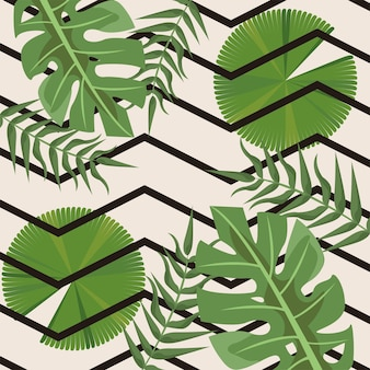 파도와 열대 잎