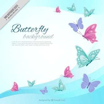 Waves background colored butterflies