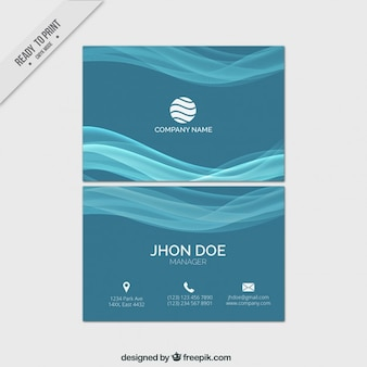 Waves blue business card