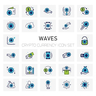 Waves crypto currency icons set