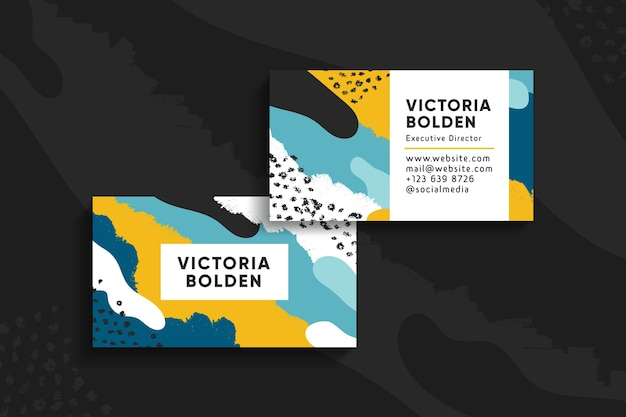 Waves and dots visit business card