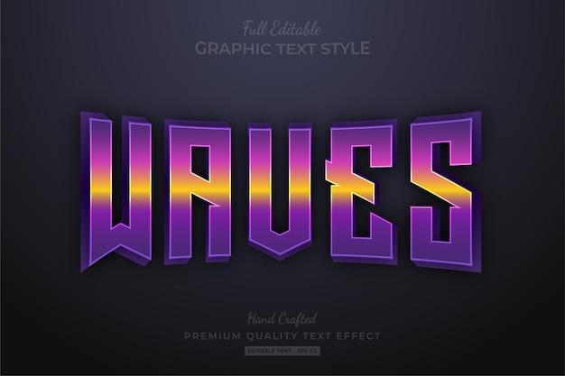 웨이브 그라디언트 편집 가능한 텍스트 효과 글꼴 스타일