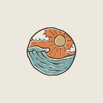 海のビーチデザインプレミアムベクトルの波