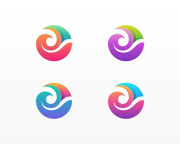 Волны логотип. значок красочные волны воды
