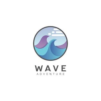 円の形の波のロゴ