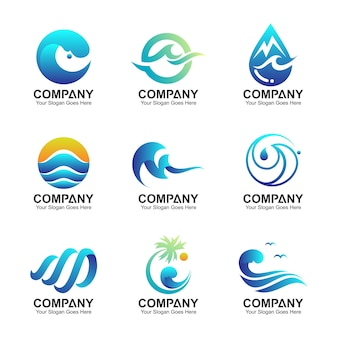 Waves logo template, water symbol collection, wave and nature icons set