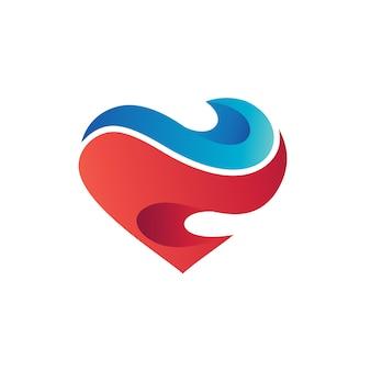 Waves in love shape logo vector
