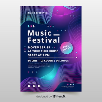 Waves music poster template with abstract shapes