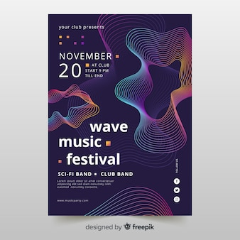 Waves music poster with abstract shapes