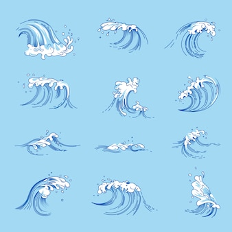 Waves and ocean or sea water splashes vector sketch icons set