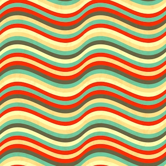 Waves in retro colours, abstract seamless pattern